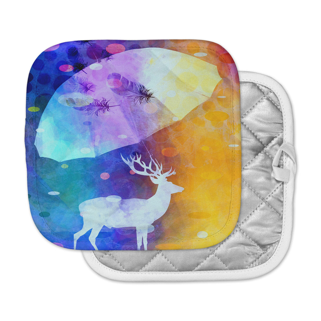 "alyZen Moonshadow ""RAIN DEER"" Purple Yellow Pot Holder"