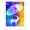 "alyZen Moonshadow ""Rain Deer"" Yellow Blue Fine Art Gallery Print - KESS InHouse"