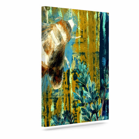 "AlyZen Moonshadow ""Bees And Lavender"" Lavender Olive Digital Art Canvas"