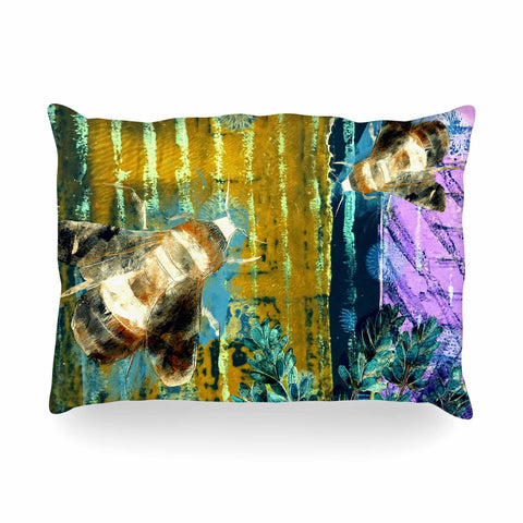 "AlyZen Moonshadow ""Bees And Lavender"" Lavender Olive Digital Oblong Pillow"
