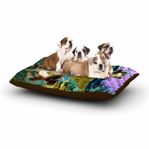 "AlyZen Moonshadow ""Bees And Lavender"" Lavender Olive Digital Dog Bed"