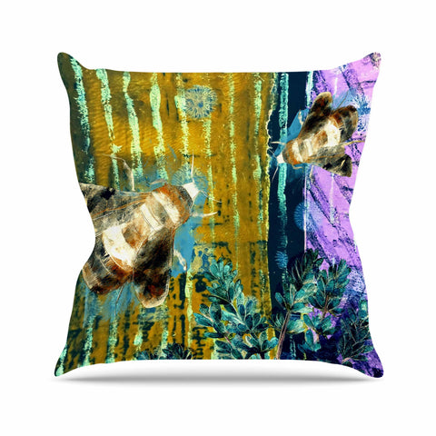 "AlyZen Moonshadow ""Bees And Lavender"" Lavender Olive Digital Throw Pillow"