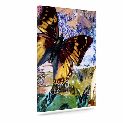 "AlyZen Moonshadow ""3 Different Butterflies"" Teal Olive Digital Art Canvas"