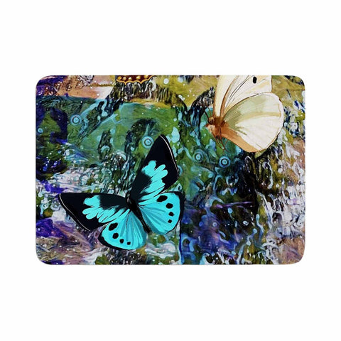 "AlyZen Moonshadow ""3 Different Butterflies"" Teal Olive Digital Memory Foam Bath Mat"