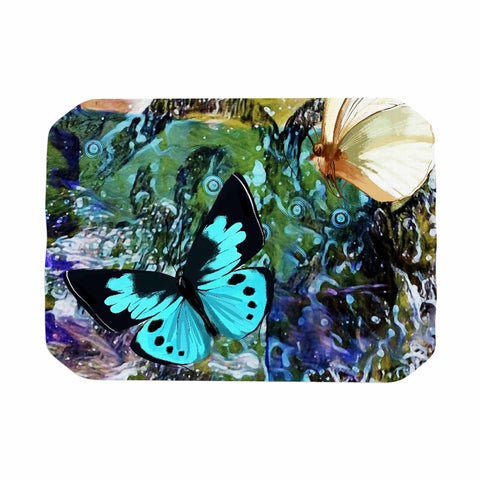 "AlyZen Moonshadow ""3 Different Butterflies"" Teal Olive Digital Place Mat"