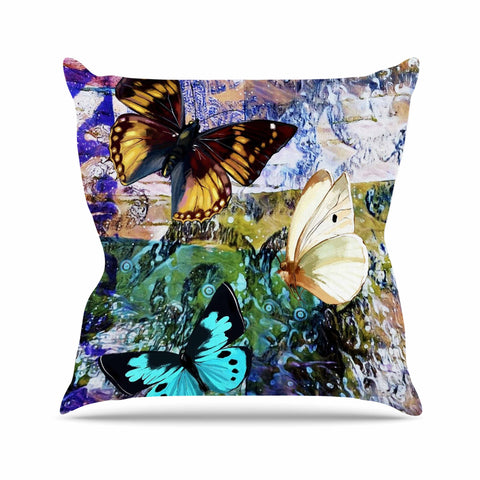 "AlyZen Moonshadow ""3 Different Butterflies"" Teal Olive Digital Throw Pillow"