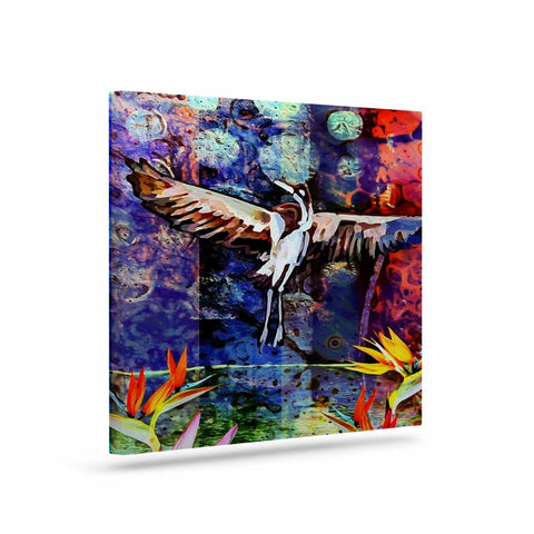 "AlyZen Moonshadow ""Birds Of Paradise Multi"" Multicolor Blue Digital Art Canvas"