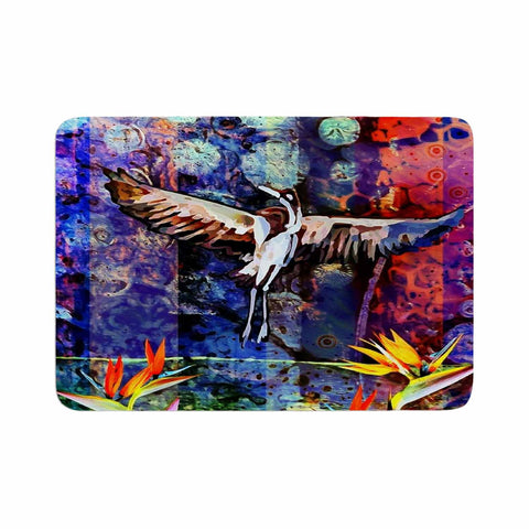 "AlyZen Moonshadow ""Birds Of Paradise Multi"" Multicolor Blue Digital Memory Foam Bath Mat"
