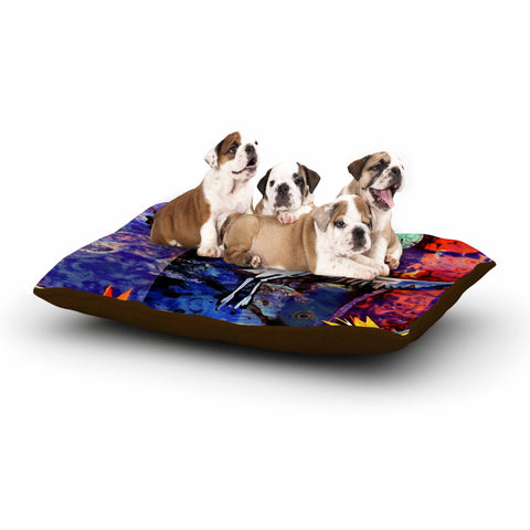 "AlyZen Moonshadow ""Birds Of Paradise Multi"" Multicolor Blue Digital Dog Bed"