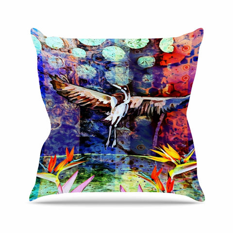 "AlyZen Moonshadow ""Birds Of Paradise Multi"" Multicolor Blue Digital Throw Pillow"