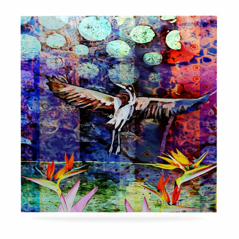"AlyZen Moonshadow ""Birds Of Paradise Multi"" Multicolor Blue Digital Luxe Square Panel"