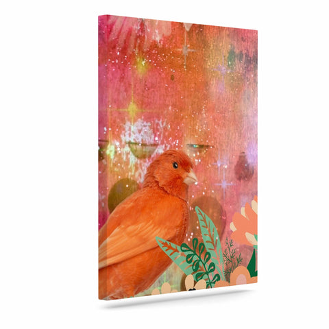 "AlyZen Moonshadow ""2 Red Birds With Flowers"" Red Coral Digital Art Canvas"