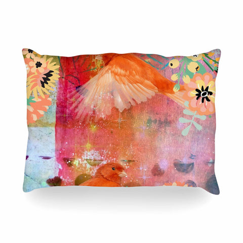 "AlyZen Moonshadow ""2 Red Birds With Flowers"" Red Coral Digital Oblong Pillow"