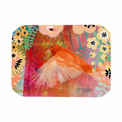 "AlyZen Moonshadow ""2 Red Birds With Flowers"" Red Coral Digital Place Mat"