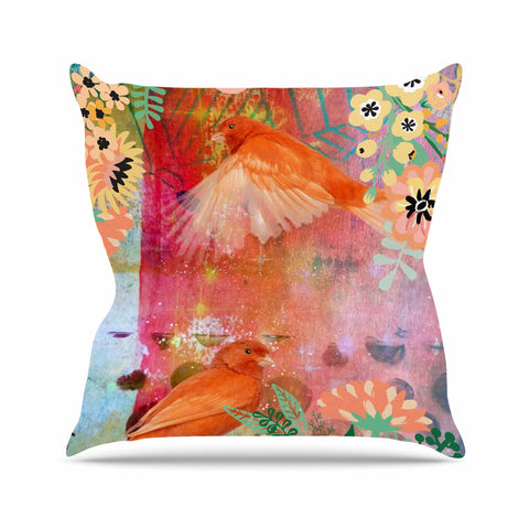 "AlyZen Moonshadow ""2 Red Birds With Flowers"" Red Coral Digital Throw Pillow"