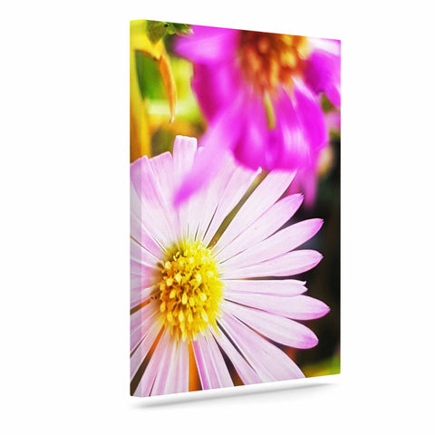 "AlyZen Moonshadow ""Flower Medley Closeup"" Pink Green Digital Art Canvas"