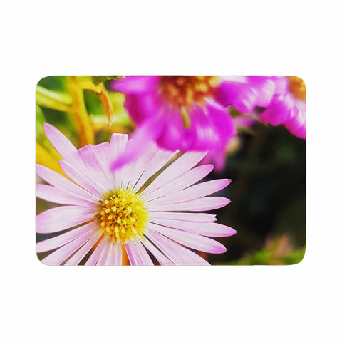 "AlyZen Moonshadow ""Flower Medley Closeup"" Pink Green Digital Memory Foam Bath Mat"