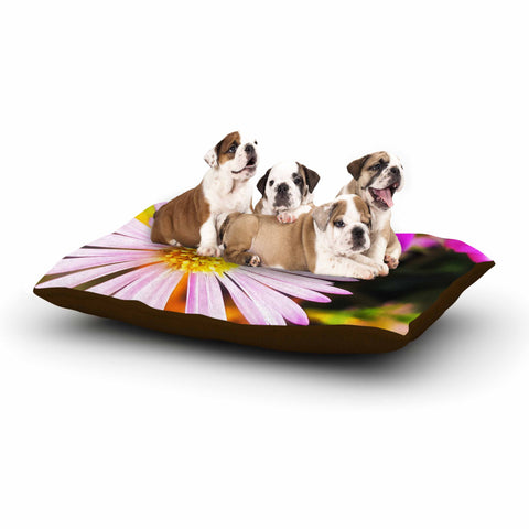 "AlyZen Moonshadow ""Flower Medley Closeup"" Pink Green Digital Dog Bed"