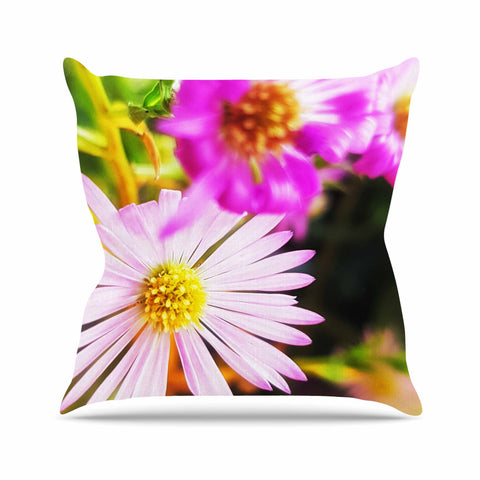 "AlyZen Moonshadow ""Flower Medley Closeup"" Pink Green Digital Throw Pillow"