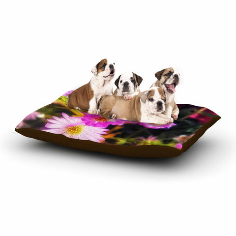 "AlyZen Moonshadow ""Sweet Flower Medley"" Multicolor Pink Digital Dog Bed"