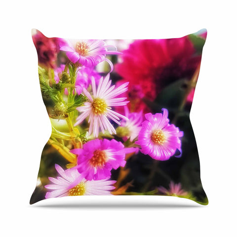 "AlyZen Moonshadow ""Sweet Flower Medley"" Multicolor Pink Digital Throw Pillow"