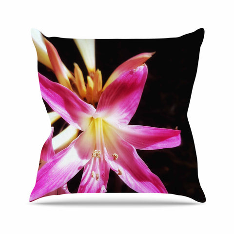 "AlyZen Moonshadow ""Pink On Dark"" Pink Black Digital Throw Pillow"