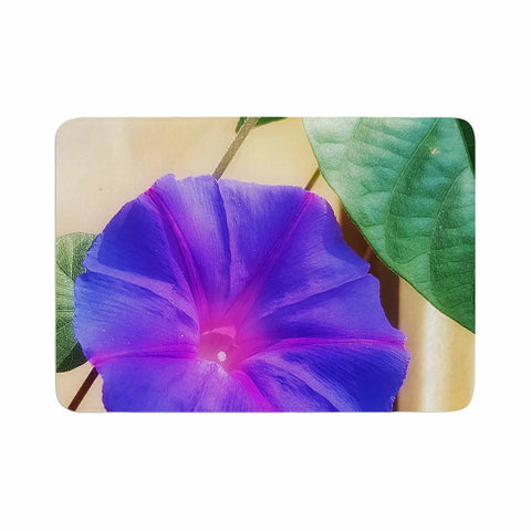 "AlyZen Moonshadow ""Morning Glory Purple"" Purple Green Digital Memory Foam Bath Mat"