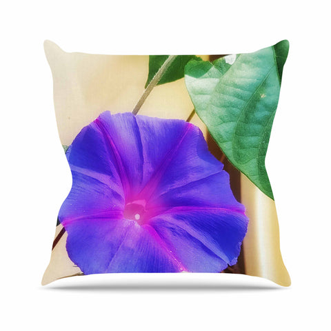 "AlyZen Moonshadow ""Morning Glory Purple"" Purple Green Digital Throw Pillow"