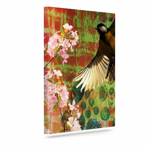 "AlyZen Moonshadow ""Lone Bird With Cherry Blossoms"" Pink Green Digital Art Canvas"