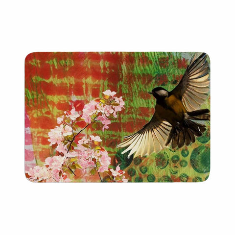 "AlyZen Moonshadow ""Lone Bird With Cherry Blossoms"" Pink Green Digital Memory Foam Bath Mat"
