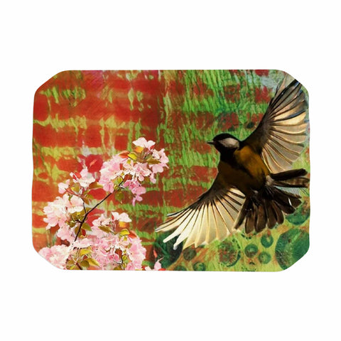 "AlyZen Moonshadow ""Lone Bird With Cherry Blossoms"" Pink Green Digital Place Mat"