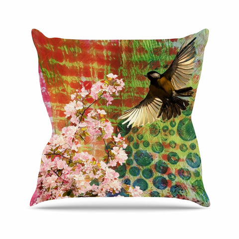 "AlyZen Moonshadow ""Lone Bird With Cherry Blossoms"" Pink Green Digital Throw Pillow"