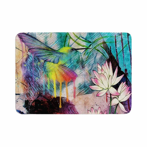 "AlyZen Moonshadow ""Hummingbird With Lotus"" Multicolor Pink Digital Memory Foam Bath Mat"