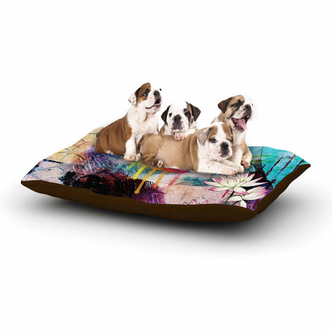 "AlyZen Moonshadow ""Hummingbird With Lotus"" Multicolor Pink Digital Dog Bed"