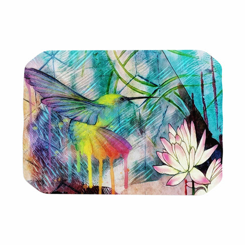 "AlyZen Moonshadow ""Hummingbird With Lotus"" Multicolor Pink Digital Place Mat"