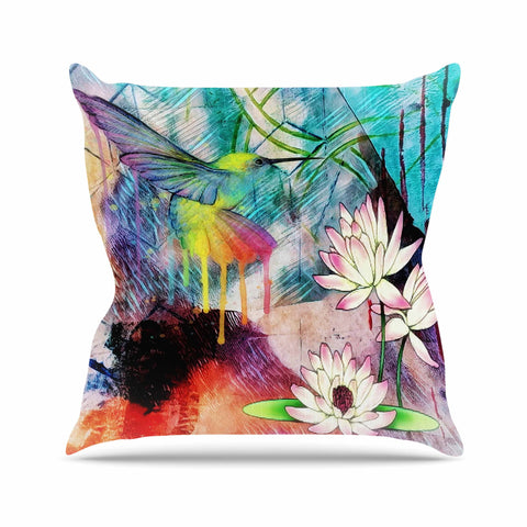 "AlyZen Moonshadow ""Hummingbird With Lotus"" Multicolor Pink Digital Throw Pillow"