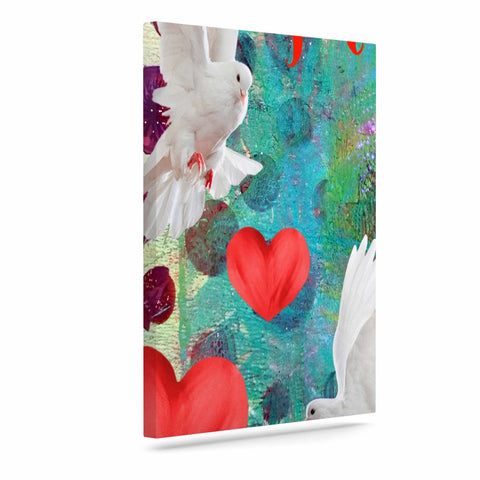 "AlyZen Moonshadow ""Je T'aime Doves"" Multicolor White Digital Art Canvas"