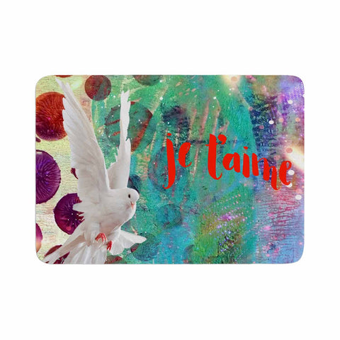 "AlyZen Moonshadow ""Je T'aime Doves"" Multicolor White Digital Memory Foam Bath Mat"