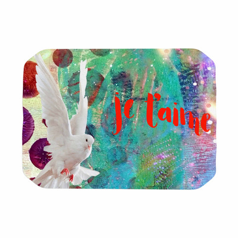 "AlyZen Moonshadow ""Je T'aime Doves"" Multicolor White Digital Place Mat"