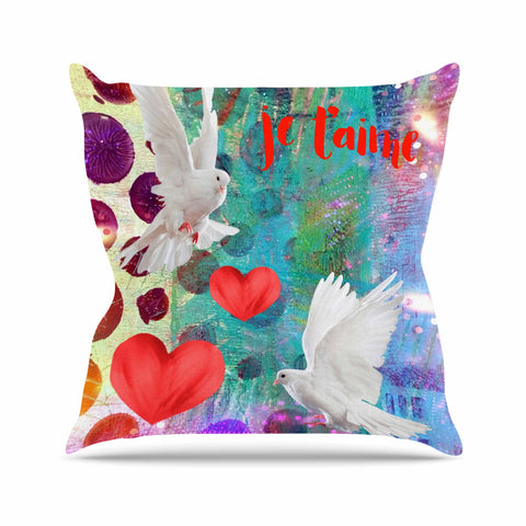 "AlyZen Moonshadow ""Je T'aime Doves"" Multicolor White Digital Throw Pillow"
