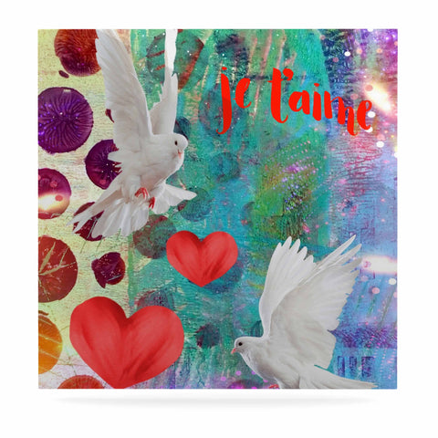 "AlyZen Moonshadow ""Je T'aime Doves"" Multicolor White Digital Luxe Square Panel"