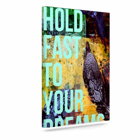 "AlyZen Moonshadow ""Hold Fast To Your Dreams"" Multicolor Teal Digital Art Canvas"