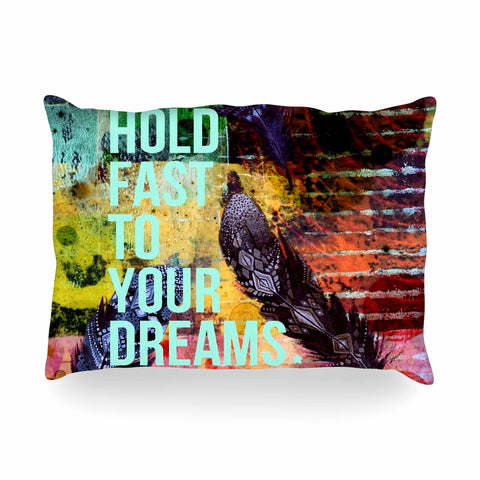 "AlyZen Moonshadow ""Hold Fast To Your Dreams"" Multicolor Teal Digital Oblong Pillow"