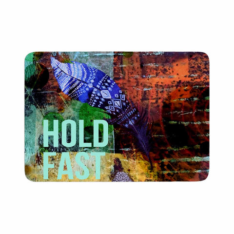"AlyZen Moonshadow ""Hold Fast To Your Dreams"" Multicolor Teal Digital Memory Foam Bath Mat"