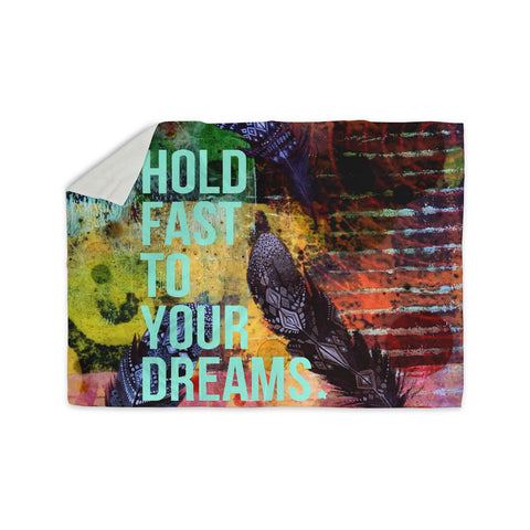 "AlyZen Moonshadow ""Hold Fast To Your Dreams"" Multicolor Teal Digital Sherpa Blanket"
