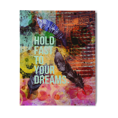 "AlyZen Moonshadow ""Hold Fast To Your Dreams"" Multicolor Teal Digital Birchwood Wall Art"