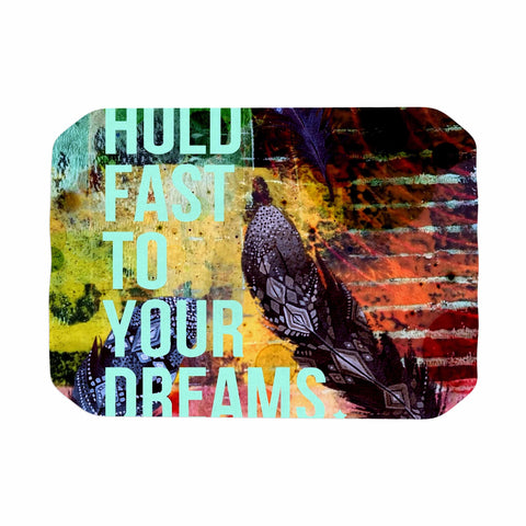 "AlyZen Moonshadow ""Hold Fast To Your Dreams"" Multicolor Teal Digital Place Mat"