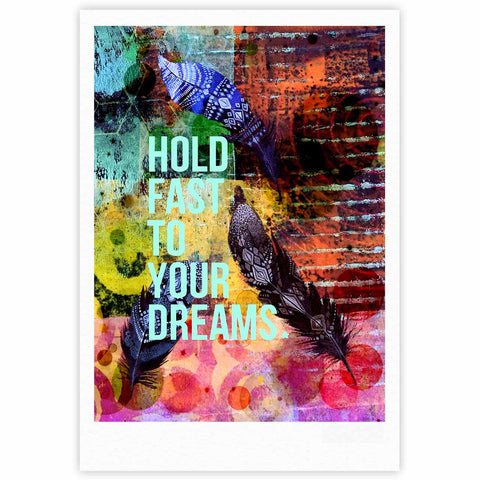 "AlyZen Moonshadow ""Hold Fast To Your Dreams"" Multicolor Teal Digital Fine Art Gallery Print"