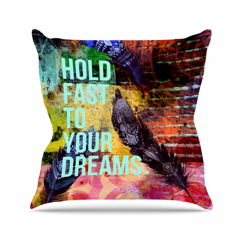 "AlyZen Moonshadow ""Hold Fast To Your Dreams"" Multicolor Teal Digital Throw Pillow"
