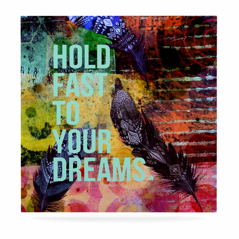 "AlyZen Moonshadow ""Hold Fast To Your Dreams"" Multicolor Teal Digital Luxe Square Panel"